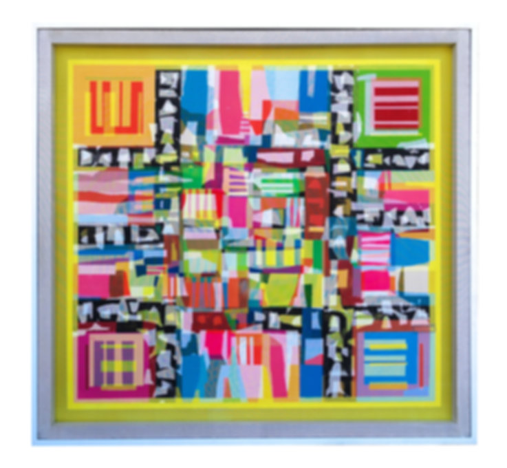JEF BRETSCHNEIDER, YELLOW TRANS #1 48in x48in Acrylic on mesh White frame