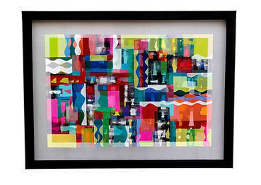 "JEF BRETSCHNEIDER: UNTITLED ABSTRACTION 38"" X 50"" Acrylic on mesh White frame"