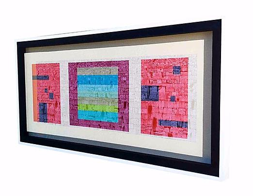 "JEF BRETSCHNEIDER: COLOR FIELD / LANDSCAPE WESTERN WALL JERUSALEM 27"" X 56"" Acrylic on mesh White frame"