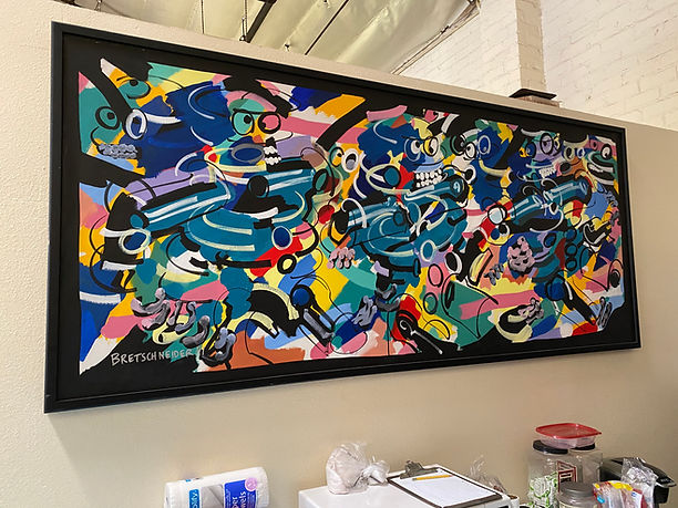JEF BRETSCHNEIDER, 1991,  INTERCROSSING FIGURES, 4ft x 8ft, Acrylic on canvas, Black frame