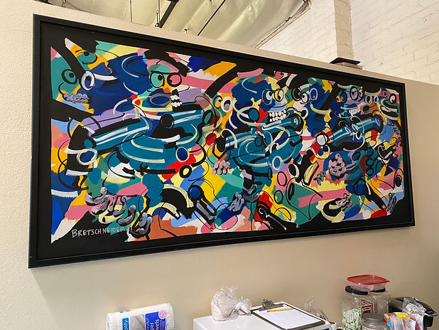 JEF BRETSCHNEIDER, 1991,  INTERCROSSING FIGURES, 4ft x 8ft, Acrylic on canvas, Black frame
