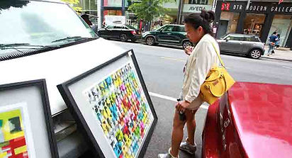 Jef Bretschneide: DIANA MUI takes in a JEF BRETSCHNEIDER painting.