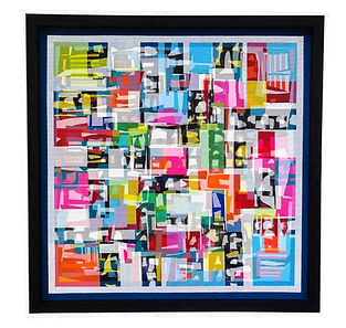 JEF BRETSCHNEIDER: ABSTRACTION 48in X 48in Acrylic on mesh White frame