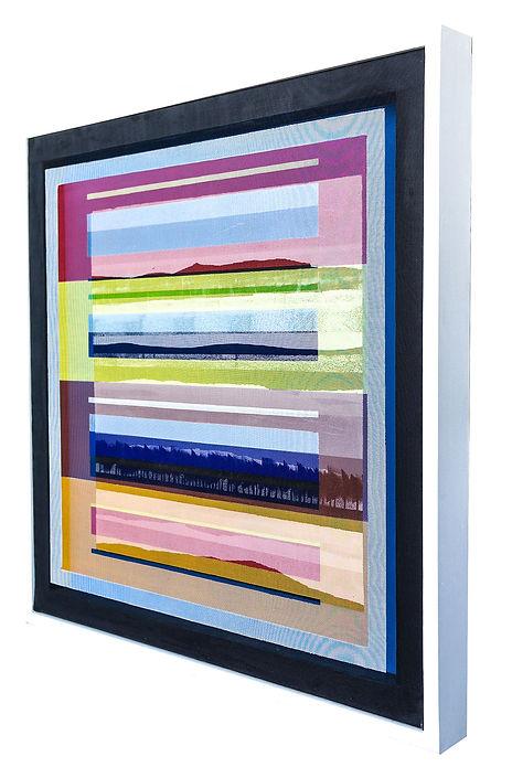 JEF BRETSCHNEIDER: COLOR FIELD / LANDSCAPE 25.5 in. x 25.5 in Acrylic on mesh White frame