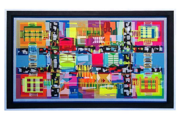 JEF BRETSCHNEIDER: BLUE TRANS ABSTRACTION C 36in X 60in 92cm x 153cm Acrylic on mesh White fram