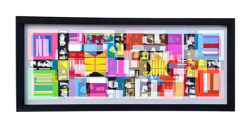 JEF BRETSCHNEIDER Completed April 18th... ABSTRACTION 24in. X 60in Acrylic on mesh White frame