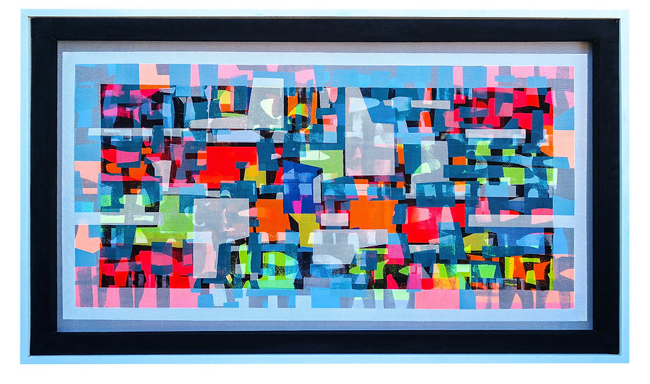 TRANS/HYBRID ABSTRACTION 29in X 49.5in Acrylic on mesh White frame