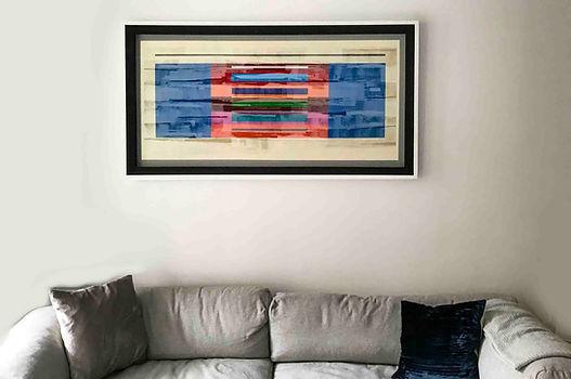 "JEF BRETSCHNEIDER: COLORFIELD ABSTRACTION 31.5"" X 60"" 80.0 cm x 154.4 cm Acrylic on mesh White frame"