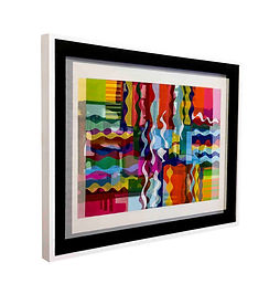 "JEF BRETSCHNEIDER: ""Melville's Trip"" ABSTRACTION   29in X 36in  Acrylic on mesh  White frame"