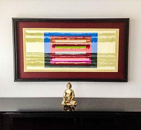 "JEF BRETSCHNEIDER: COLOR FIELD LANDSCAPE, Acrylic on mesh, 28"" x 60"""