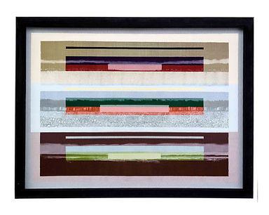 JEF BRETSCHNEIDER: COLOR FIELD LANDSCAPE 36in X 48in Acrylic on mesh White frame