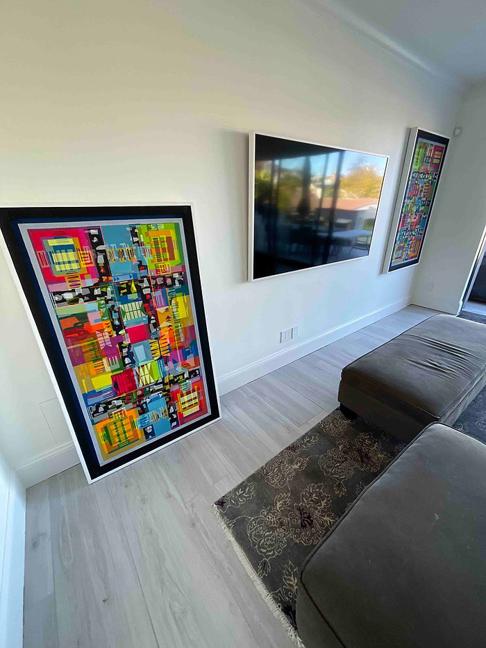 JEF BRETSCHNEIDER: SPECTOR/ZAK COMMISSION  TWO 3ftx 5ft TRANS ABSTRACTIONS SAN FRANCISCO TOWN HOUSE
