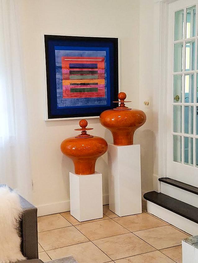 "JEF BRETSCHNEIDER: 36"" x 36"" Color Field / Landscape, Acrylic on mesh, White Frame"