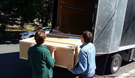 "JEF BRETSCHNEIDER: Museum of Modern Art: BOXART Transport Team unload crate for Jef Bretschneider's ""Shifting Borders"""