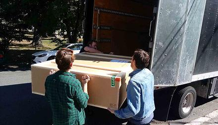 "JEF BRETSCHNEIDER: Museum of Modern Art: BOXART Transport Team unload crate for Jef Bretschneider's ""Shifting Borders"""