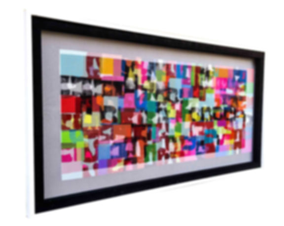 "JEF BRETSCHNEIDER: ABSTRACTION (Commissioned) 26"" X 50"" Acrylic on mesh Black Frame SOLD"