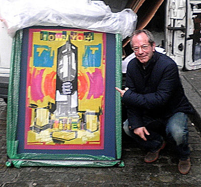 "JEF BRETSCHNEIDER: Lighting Designer MARC BRICKMAN with his Empire State Building purchase entitled: ""I Own You, MINE!"""