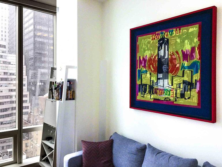 "JEF BRETSCHNEIDER: ""I OWN YOU!""  4ft x 4ft  Acrylic on mesh  Red frame"