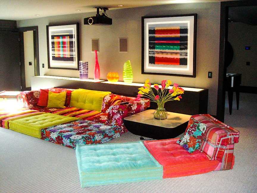 INTERIOR: PRIVATE RESIDENCE, CALGARY, CANADA, COLOR FIELD LANDSCAPES, 4ft. x 4ft,  Photo Courtesy Enrico and Colleen Cappelletto