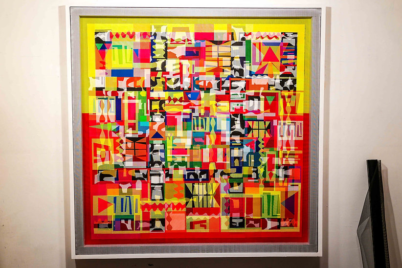 JEF BRETSCHNEIDER: CHAI! DIASPORA BOOGIE-WOOGIE, 48in x 48in Acrylic on mesh White frame