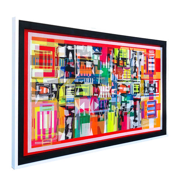 JEF BRETSCHNEIDER: RED HYBRID ABSTRACTION 36in x 60in, Acrylic on mesh, White frame