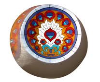 ויטראז' טווסי בתקרה סקיילייט בתאורה טב