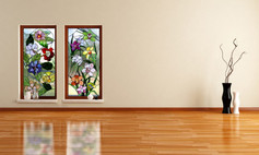 ויטראז'ים בחלונות בסלון פריחה אביבית