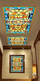 ויטראז' בסגנון קלאסי מואר בתאורת לד בתקרה בבית ברשפון