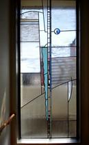 חלון ויטראז' כחול על שקוף