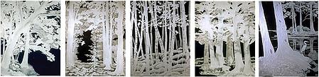 יערות אירופה בתמונות צרובות על זכוכית ללא עופרת. כולל תאורת לד