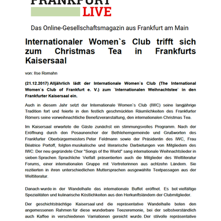 Internationaler Women`s Club trifft sich zum Christmas Tea in Frankfurts Kaisersaal