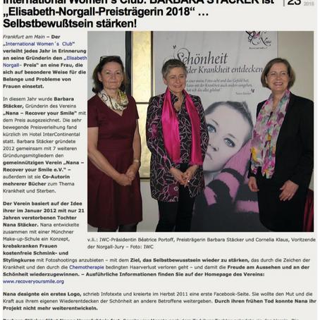 """IWC: Barbara Stäcker ist """"Elisabeth-Norgall-Preisträgerin 2018"""" ... Selbstbewußtsein stärken!"""