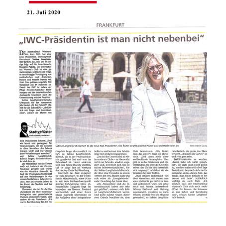 IWC-Präsidentin ist man nicht nebenbei, FNP, 21.07.2020