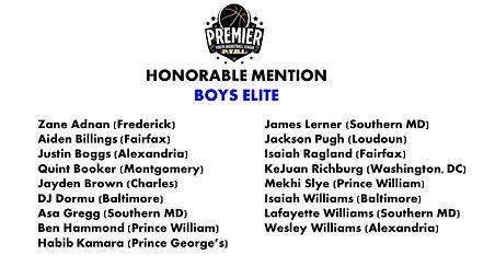 Boys Elite Honorable Mention All League.