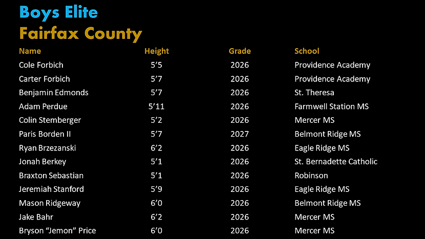 Fairfax PYBL Elite Roster.png