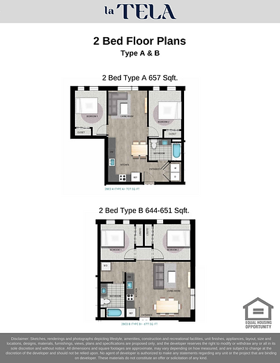 La Tela | 2-Bedroom Floor Plans A & B