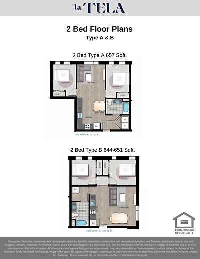 La Tela | 2 Bed Floor Plans A & B