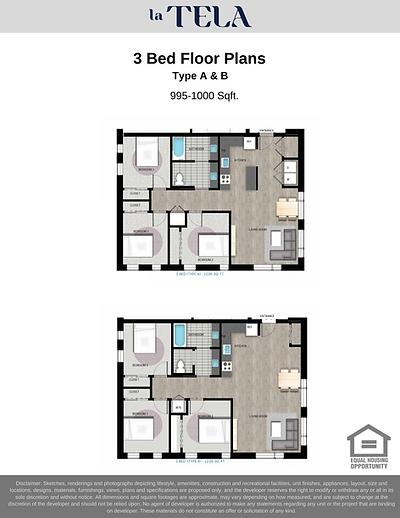 La Tela | 3 Bed Floor Plans A & B