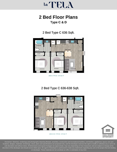 La Tela | 2-Bedroom Floor Plans C & D