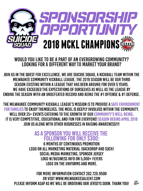 2019 Suicide Squad Kickball Sponsorship (MCKL)