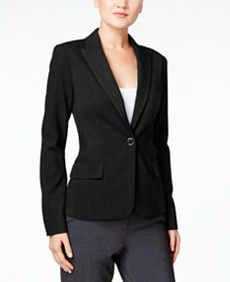 Black Single-Button Stretch Blazer  Sizes 18W, 22W