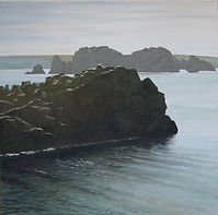 art, painting, sea, light, côte rocheuse, mer calme