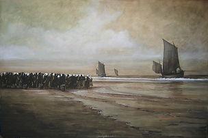 Les bateau de pêchent arrivent, une foule, massée sur la plage les attend.