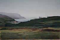 Grande baie fermée par une falaise et lande, art, painting, maritime landscape.
