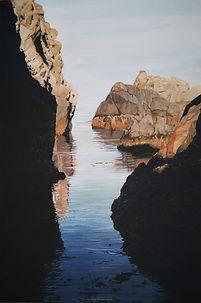 Art, painting, blue sea rocks, light, sun, summer, passage entre deux roches. Mer bleue, calme.  Lumière et soleil.
