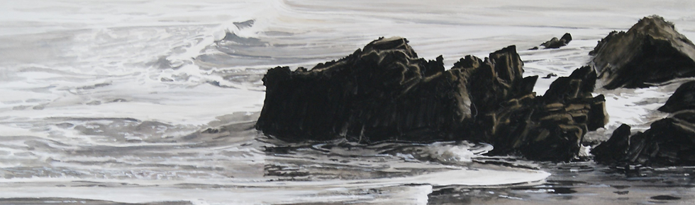 waves, rock, painting, art