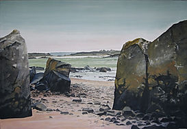 Maritime landscape with rocks, sand the sea.