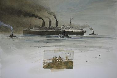 paquebot fumant escorté par de petits bâtiments. Dessin  de marins.