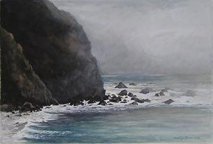 art, painting, cliff, waves, falaise abrupte, atmosphère brumeuse, mer légèrement agitée