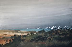 passage d'une régate de voiliers blancs sur la mer bleue, art, painting, regate sailboat,blue sea.